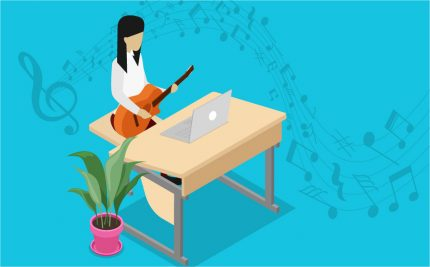 vector art of a student at a computer playing guitar for the music_teachers_blog post