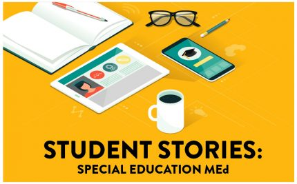 Amy Wallace student story vector art with a notebook glasses tablet and coffee special_education_med_online_student_story