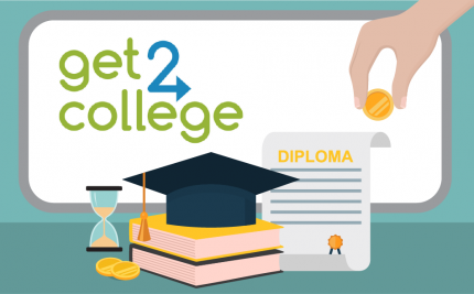 vector art of a diploma, books and graduation cap for the Get2College blog