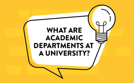 vector art of a lightbulb and speech bubble asking What are Departments at a University