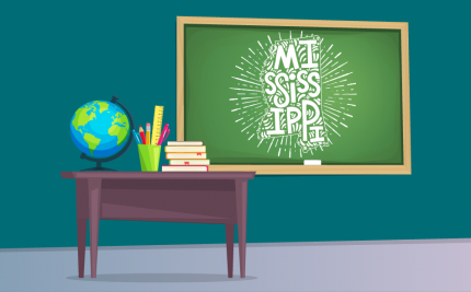vector art of a chalk board with a drawing of Mississippi for the Mississippi Teaching License blog