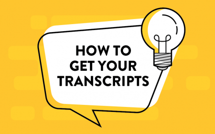 Vector art asking how_to_get_your_college_transcripts with a lightbulb