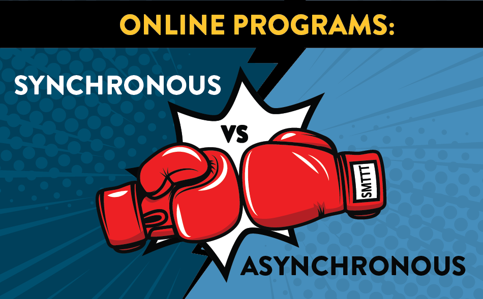 Synchronous vs Asynchronous Online Programs text with boxing gloves graphic
