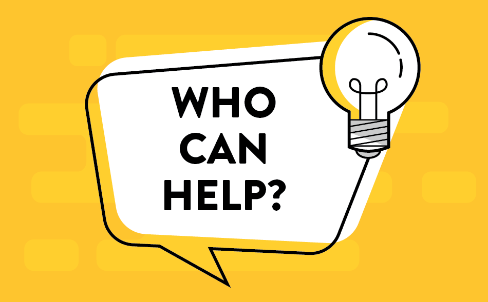 college assistance blog image a speech bubble asking who can help? with a lightbulb