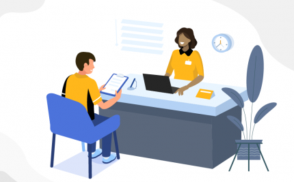 vector art of a student in a meeting with a career services specialist
